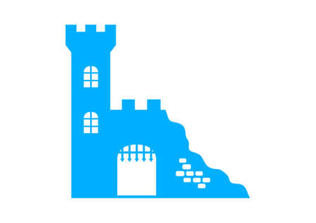 Blue castle ruins on white background Vector