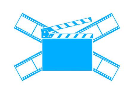 Blue cinema icon on white background Vector