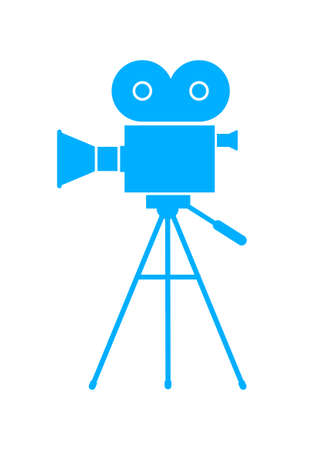 Blue movie camera on white background Stock Vector - 33721290