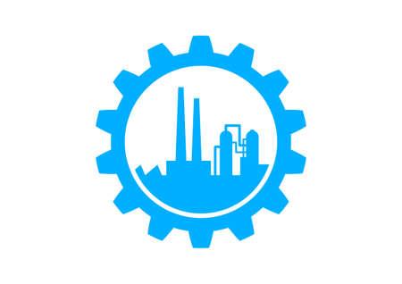 Blauwe industriële pictogram op witte achtergrond