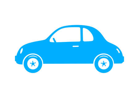 on a white background: Blue car icon on white background