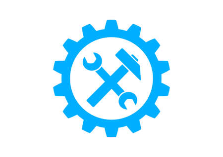 fix gear: Blue industrial icon on white background