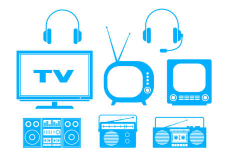Blue audio and TV icons on white background Vector