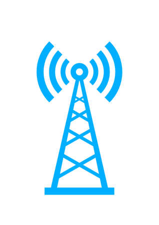 radio station: Blue transmitter icon on white background