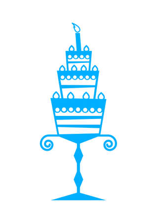 Blue cake icon on white background Vector