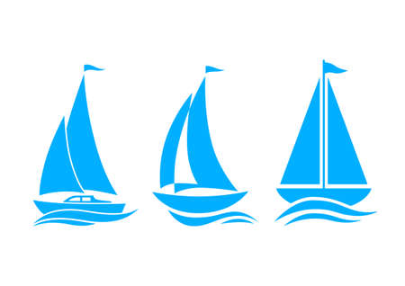 yacht: Blue sailboat icons on white background