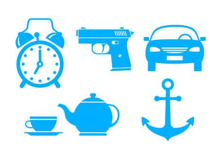 alarmclock: Blue icons on white background Illustration
