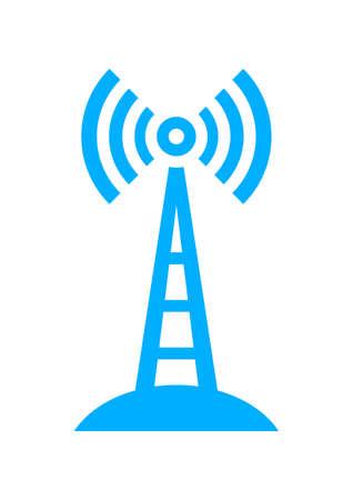 radio mast: Blue transmitter icon on white background