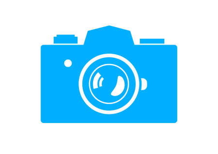 Blue camera icon on white background Vector