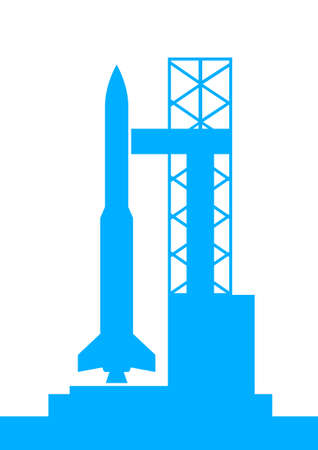 booster: Blue rocket icon on white background