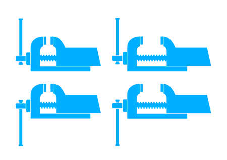 vice grip: Blue vise icons on white background