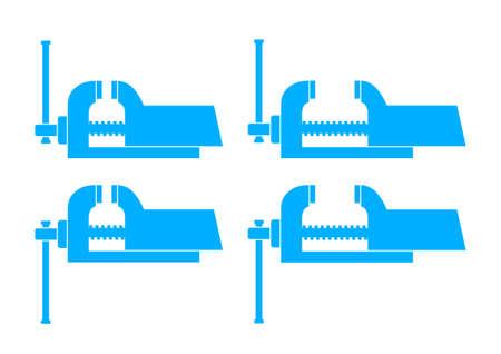 vise: Iconos de Vise azules sobre fondo blanco Vectores