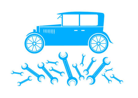 Blue car icon on white background Vector