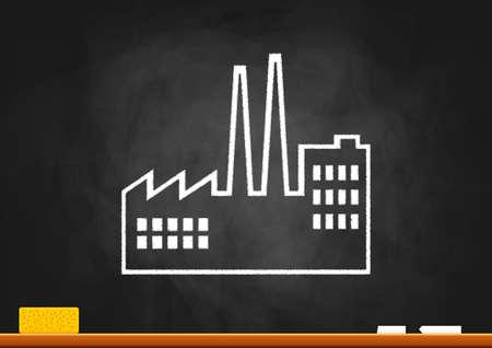 Drawing of factory on blackboard Vector