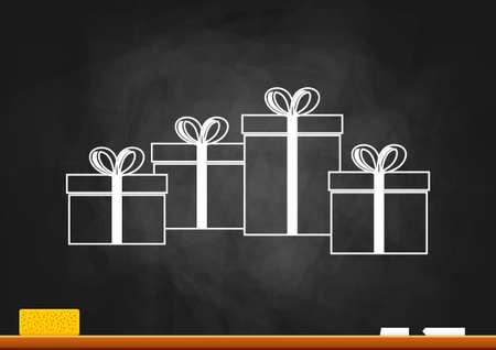 Drawing of gift on blackboard Иллюстрация