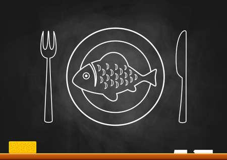 Fish drawing on blackboard Vector