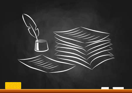 inkpot: Drawing of quill and paper on blackboard