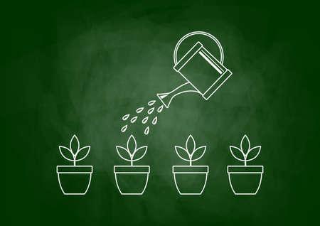 Drawing of plants on blackboard Vector