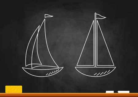 Drawing of sailboat on blackboard Vector