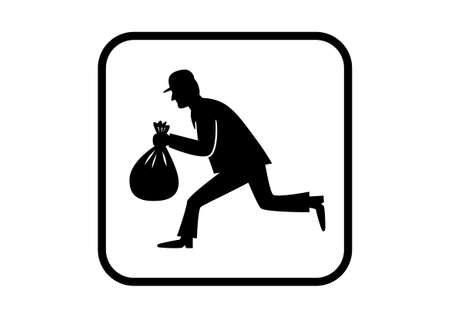 felon: Thief icon on white background