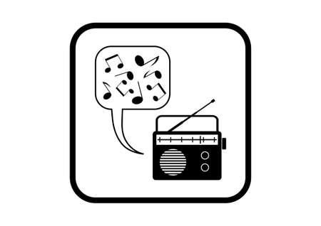 Radio vector icon on white background Vector