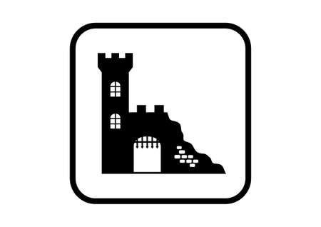 Castle ruins icon on white background Vector
