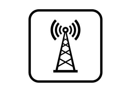 radio mast: Transmitter vector icon on white background Illustration