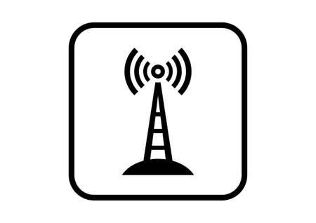 Icono transmisor vector en el fondo blanco