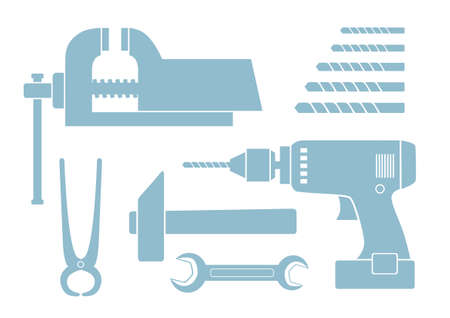 Tool icons on white background Vector