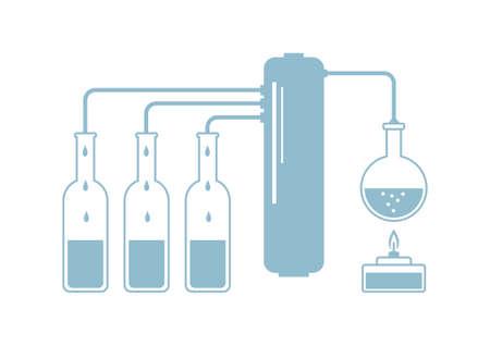 destilacion: Kit de destilaci�n en el fondo blanco Vectores