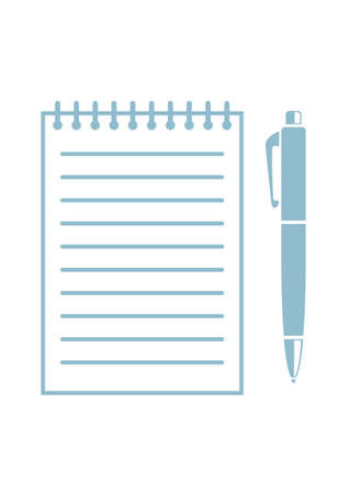 writing equipment: Ballpoint with notepad on white background