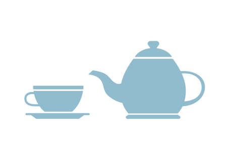 teacup: Teapot and teacup on white background
