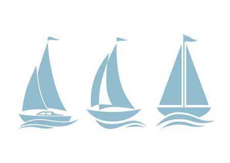 Sailboat icons on white background Ilustracja
