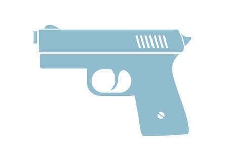 handgun: Gun vector icon on white background