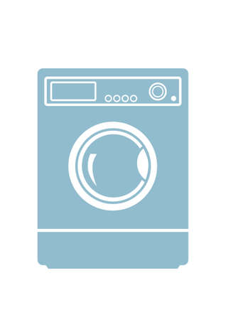 washing machine: Icono lavadora en el fondo blanco
