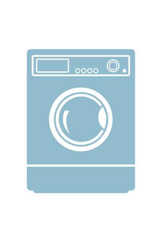 auto washing: Washing machine icon on white background