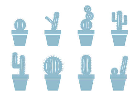 prickles: Cactus icons on white background Illustration