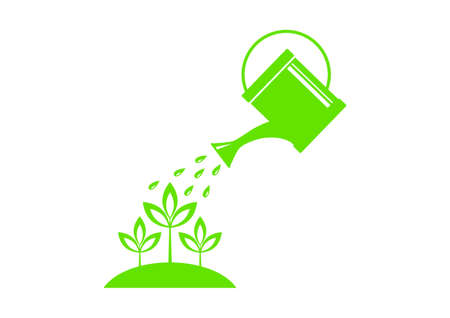 Watering can icon on white background Illustration