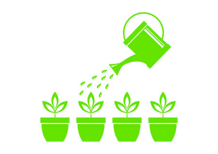 wateringcan: Watering can and plants on white background Illustration