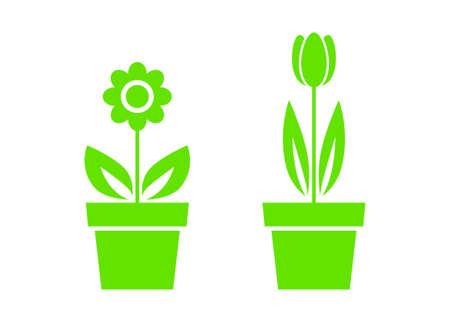 tulips isolated on white background: Flower icons on white background Illustration