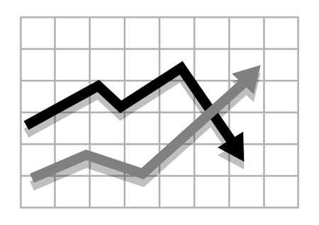 two arrows: Graph with two arrows Illustration