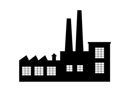 Factory vector icon on white background Stock Illustratie