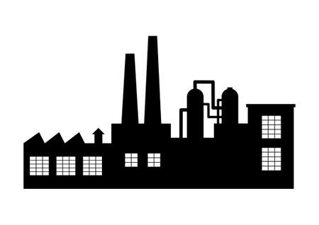 silhouette industrial factory: Factory vector icon on white background Illustration