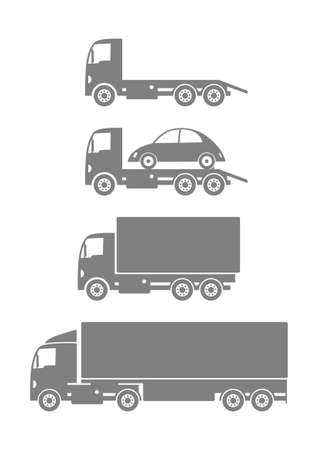 Gray truck collection on white background Vector