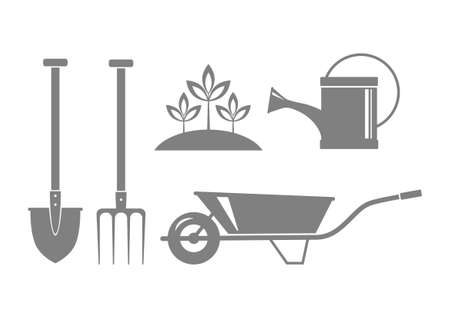 wateringcan: Gray garden icons on white background