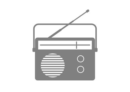 retro radio: Radio vector icon on white background