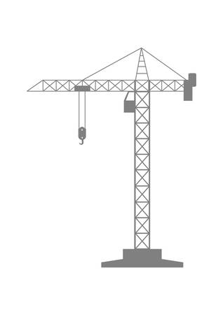 tower crane: Grey tower crane icon on white background Illustration