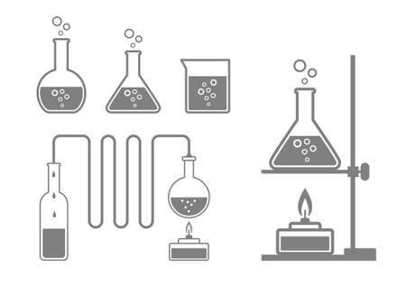 distill: Laboratory glass icons on white background