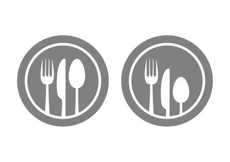 Cutlery on grey plate