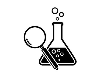 Laboratory glass and magnifier on white background